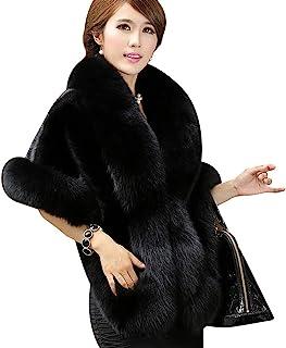 Roniky Women's Faux Fur Coat Wedding Cloak Cape Shawl for Evening Party
