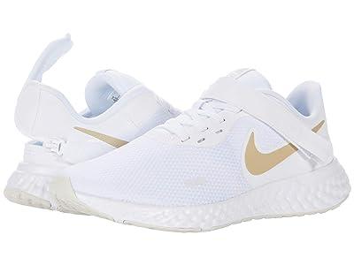 Nike Flyease Revolution 5 (White/Metallic Gold Star/Platinum Tint) Women