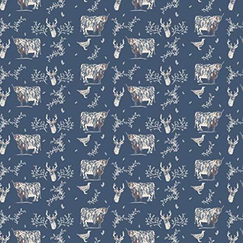 Tela de 100% algodón egipcio, diseño de animales de las tierras altas escoceses, cardo, ciervo, coo, vaca, material impreso, patchwork, costura, algodón, azul, 1 Fat Quarter (48cm x 55cm)