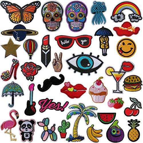 Afuqa 36 Stück Patches Sticker,Stickerei-Prozess DIY Kleidung Patches Zum Aufbügeln Für T-Shirt Jeans Hut Dekor Taschen Stickerei