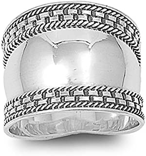 Sterling Silver Bali Design Ring 18mm (Size 5 to 12)