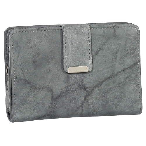 Damen Leder Geldbörse Damen Portemonnaie Damen Geldbeutel - Farbe grau - Geschenkset + exklusiven Ledershop24 Schlüsselanhänger