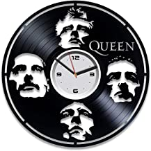 Kovides Queen Vinyl Wall Clock Queen Freddie Mercury Birthday Gift Vinyl Record Wall Clock Queen Vinyl Clock Freddie Mercury Rock Band Music Freddie Mercury Wall Clock Large Gift for Musician