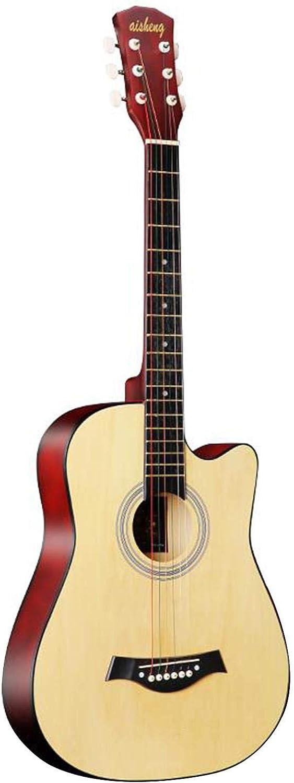 KEPOHK 38 '' Guitarra Acústica Folk Cortada de 6 Cuerdas para Adultos de Tamaño Completo para Estudiantes Principiantes (Madera) Madera