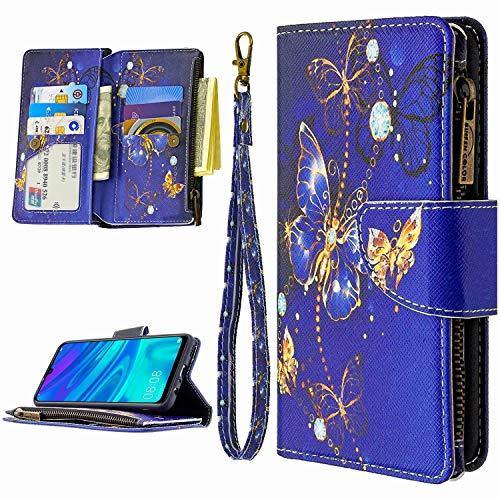 Miagon 9 Kartensteckplätzen Lederhülle für Huawei Y6P 2020,Bunt Reißverschluss Flip Hülle Wallet Case Handyhülle PU Leder Tasche Schutzhülle,Blau Schmetterling