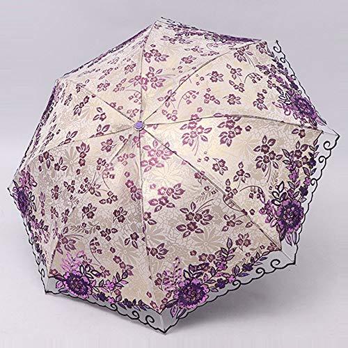 Big seller Regenschirme Sonnenschutz Sonnenschutz UV Regenschirm weibliche Schwarze Spitze Falten (Farbe : Purple)