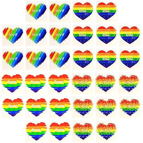Fiomia Rainbow Heart Temporary Tattoos Love Stickers for LGBTQ Pride Parades Festival Wedding Party Waterproof Body Paints Decal Removable 2''x2'' 32Pcs
