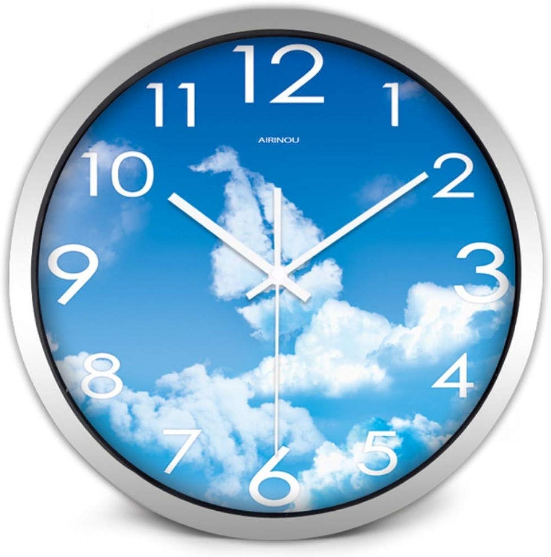 Mzdpp Reloj De Nubes Mediterráneas De Vela Reloj De Parojo Tranquilo De Vidrio De Sala De Estar -10 Pulgadas -Zgh0133