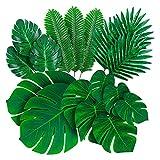 YMDA Hojas de Palmeras Monstera Tropical Artificial, con Tallos, 84 PCS 6 Tipos de Decoraciones de Hoja de Palma Falsas Verdes, para decoración de Mesa Fiesta de Tema de cumpleaños de Boda