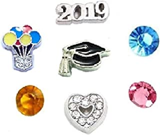 Cherityne Class of 2019 Graduate Themed Set of 7 Floating Charm for Locket Pendants