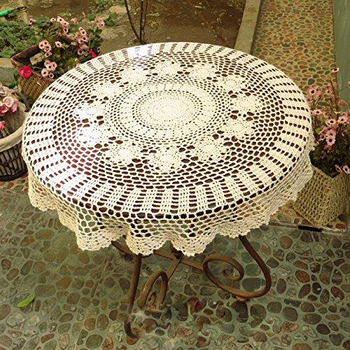 XCJ Mantel de XCF, cordón, Tejido Hecho a Mano de la Flor del Ganchillo Mantel Redondo de la Cubierta Decorativo de la Mesa de Centro,A,Diámetro: 80cm