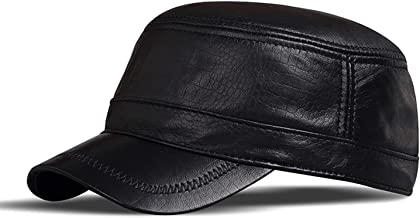 HAPPY-BELT Leren pet, casual platte pet, verstelbare ademende echt lederen klassieke effen hoed voor heren, herfst winter ...