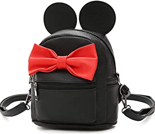 Bag Outdoor Shopper School Bookbag Casual Shoulder Pu Tide Traveling Cute Bow Small Backpack (Black Large)