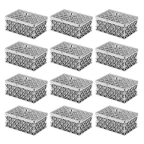 D DOLITY 12x Plastik Box Kasten Karton Schachtel für Gastgeschenk Bonbon und Schmuck mit Netzform - Silber