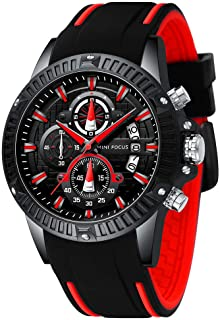 MINI FOCUS Watches Mens Sport Wterproof Multi-Function Quartz Watch Men Silicon Leather Strap Chronograph Wrist Watch for Men
