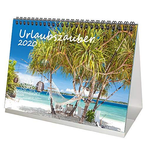 Urlaubszauber DIN A5 Tischkalender 2020 Ferne Länder und Urlaubsträume Geschenk-Set: Zusätzlich 1 Grußkarte und 1 Weihnachtskarte - Seelenzauber
