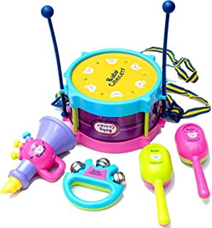 LISMENT 5PCS Toddler Musical Instruments Toys Set, Baby Roll Drum Musical Instruments Band Kit for Kids Above 18 Month Baby Boys and Girls