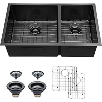 Kitchen Sink Undermount Double Bowl - Logmey 32 inch Kitchen Sink Undermount Gunmetal Black 16 Gauge Stainless Steel Sink Undermount Sink Kitchen Double 60/40