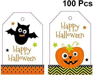 Hemoton 100pcs Halloween Greeting Cards Assortment Greeting Gift Cards Halloween Gift Tags Pumpkin and Bat Pattern for Each 50pcs