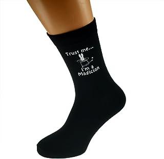 Trust me I'm a Magician & Hat with Rabbit Image Design Mens Black Cotton Rich Socks