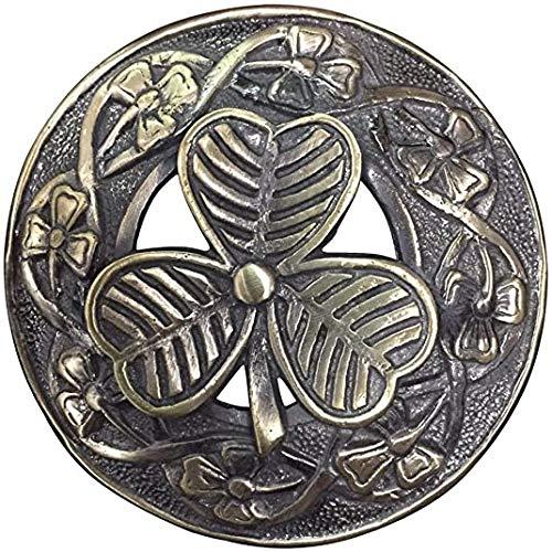 AAR Men,s Scottish Irish Shamrock Kilt Brooch Fly Plaid Antique Finish 3' (7cm) diameter S