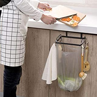 Slibrat Garbage Rack Iron Garbage Bag Rack Trash Bin Stand Storage Bracket Kitchen Home Gadgets (Black)