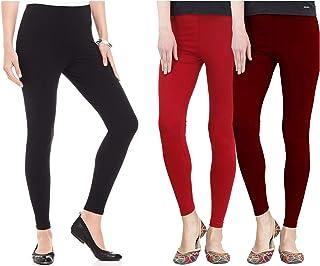 FashGlam Women Ankle Length Leggings - Combo - Black,Red,Maroon