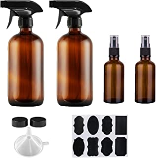 Empty Amber Glass Spray Bottles - 4 Pack Empty Bottles for Cleaning, Plants, Pets, Essential Oils or Air Freshener, Durabl...