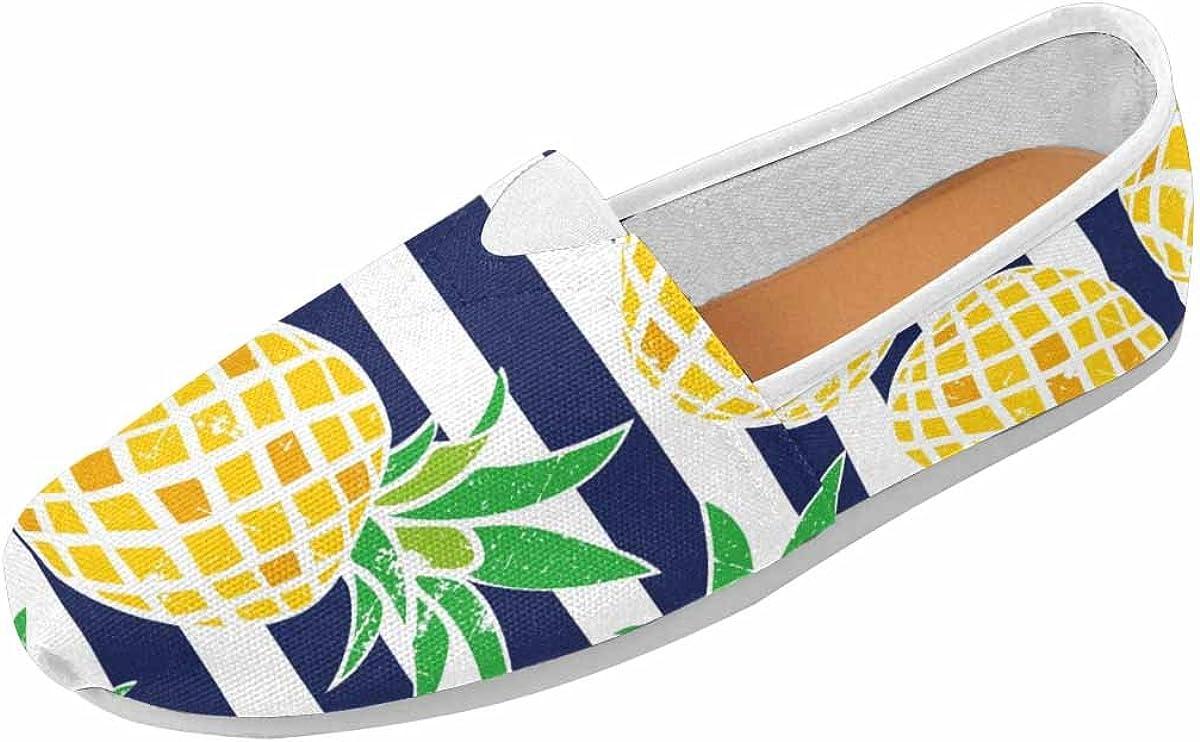 InterestPrint Women's Classic Flat Slip On Comfort Loafer Sneaker Shoes Pineapple Stripes