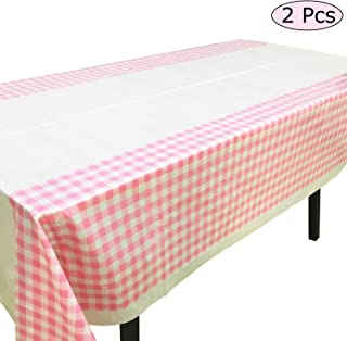 Joysail Pink Checkered Tablecloth - Plastic, 42 x 70 Inch - Light Pink Table Cloths for Parties - Outdoor Picnic Table Cover - 2pcs