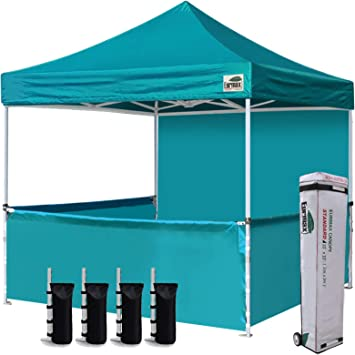 Eurmax 10'x10' Ez Pop-up Booth Canopy Tent Commercial Instant Canopies with 1 Full Sidewall & 3 Half Walls and Roller Bag, with 4 SandBags + 3 Cross-Bar(Turquoise)