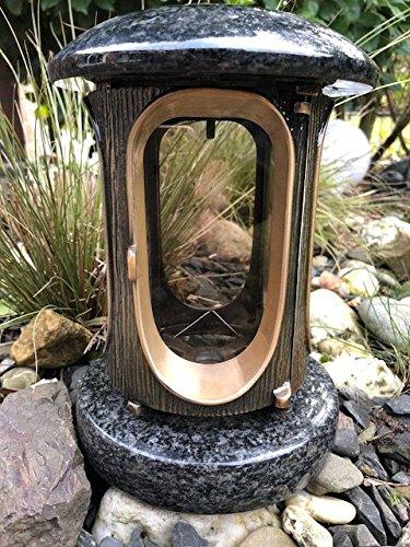 Stone & More graflantaarn van graniet/gegoten metaal graflamp Impala Uni bronskleuren begraafplaats licht begraafplaats slamp massief graflicht bronskleur Impala