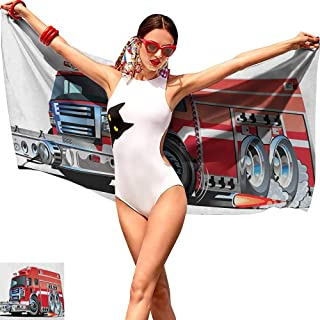 Personalized Jumbo Premium Beach Towel Cars,Big Fire Truck with Emergency Equipments Universal Safety Rescue Team Engine Cartoon,Red Silver,Bathroom Body Shower Towel Bath Wrap 32