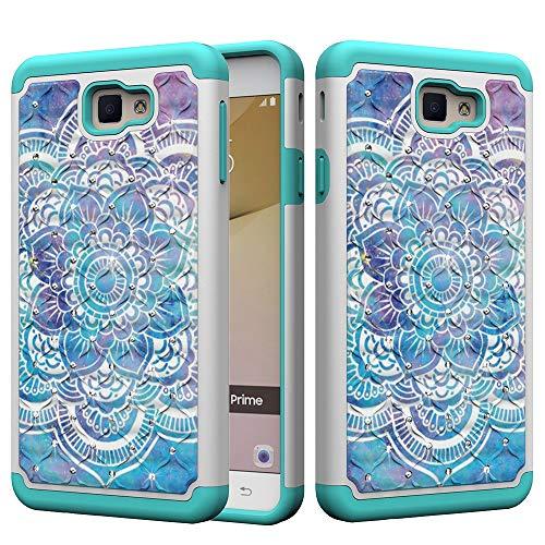 Carcasa protectora híbrida de doble capa con diseño de búhos de flores y mariposas, compatible con Samsung Galaxy J7 Perx/J7 Sky Pro (versión de EE. UU.).