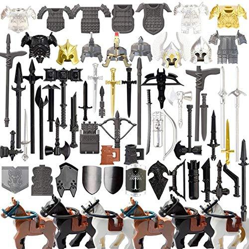 LICI Juego de minifiguras militares, 72 unidades, estilo medieval, juego de accesorios de construcción Mini SWAT, compatible con Lego