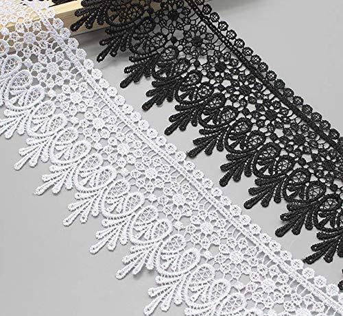 Yulakes 3 Yard 9cm Baumwolle spitzenband Vintage Häkelband Spitze Borte Häkelspitze Häkel-Borte Spitzenband für Nähen Handwerk (Weiß)