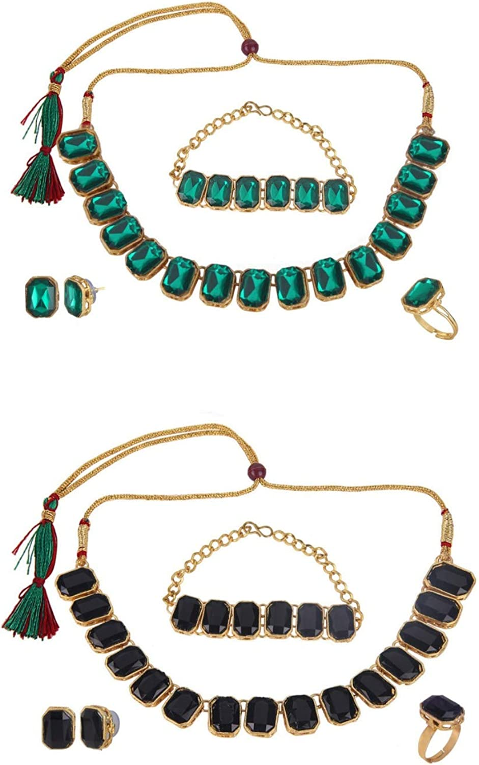 Efulgenz Crystal Oxidized Statement Choker Necklace Earrings Bracelet and Rings 2 Sets Costume Jewelry