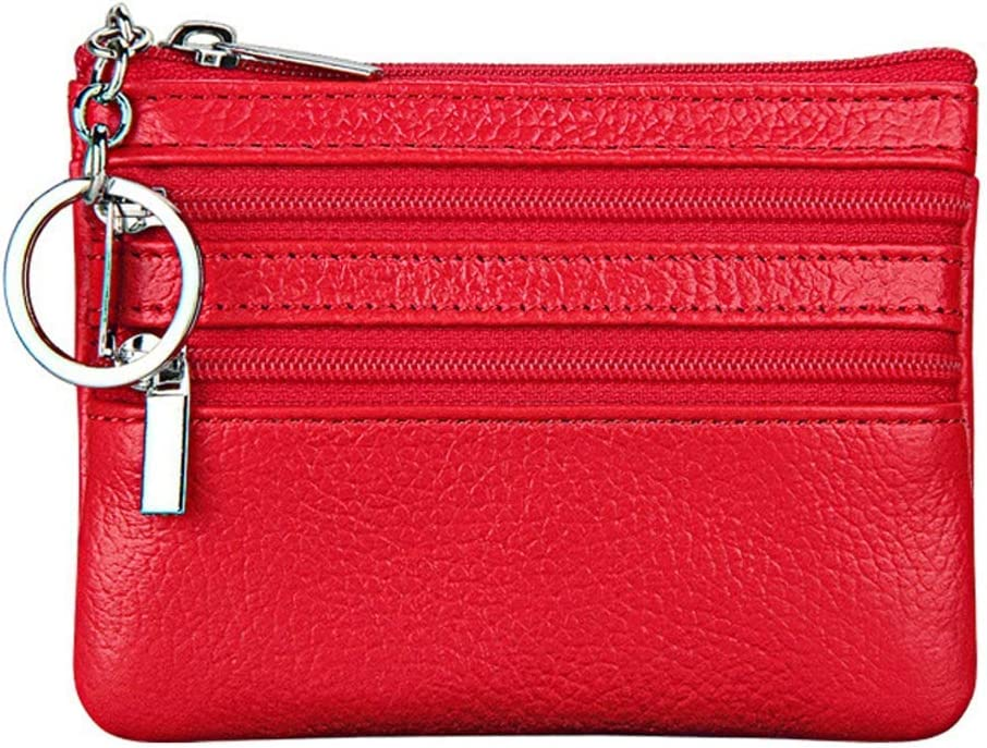 Women's Leather Coin Purse Mini Pouch Change Wallet with Key Ring red