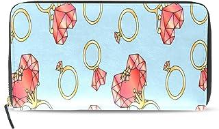 Anillo Pareja romántica Diamante Amor Largo Pasaporte Embrague Monederos Cremallera Monedero Bolsa Bolso Organizador dinero Bolsa