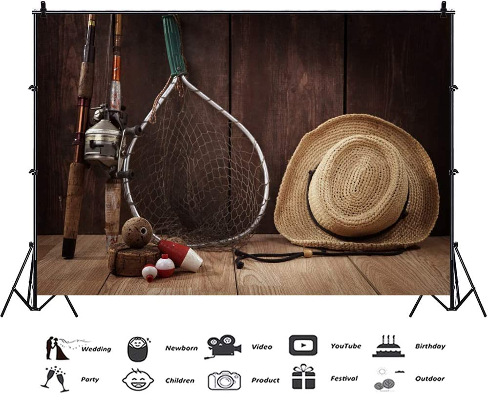 CSFOTO 5x3ft Cowboy Backdrop Wood House Straw Hat Fishing Tools Photography Background Fishermen Farmer Portrait Shooting Photo Film Studio Video Props Interior Decoration Wallpaper