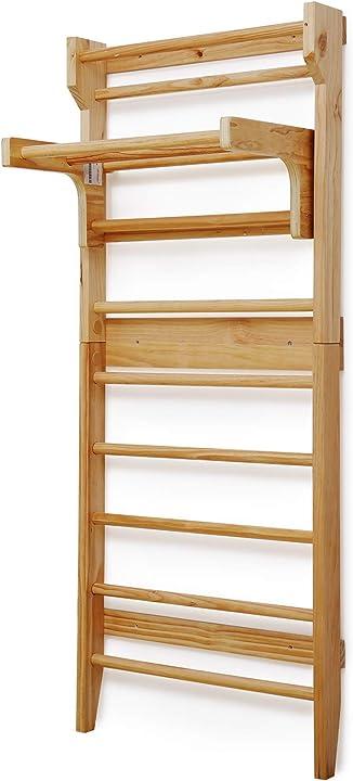 Scala per ginnastica - 10 gradini, 195 x 80 x 14 cm, con barra per trazioni rimovibile, legno di pino B08M9Y7CK2