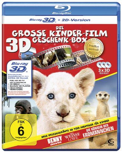 Die große Kinderfilm-Geschenk-Box mit drei preisgekrönten Tier-Abenteuern: Der weiße Löwe, Benny - Allein im Wald, Die Königin der Erdmännchen (3 3D Blu-rays)