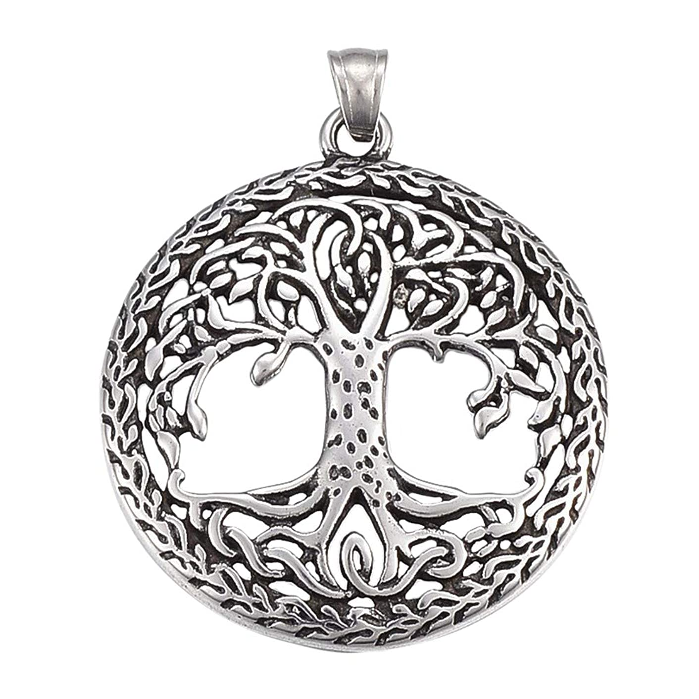PH PandaHall 6pcs Stainless Steel Pendants Flat Round Tree Pattern Tree of Life Antique Silver for Bracelets Dangle Earrings Necklace Jewelry Making