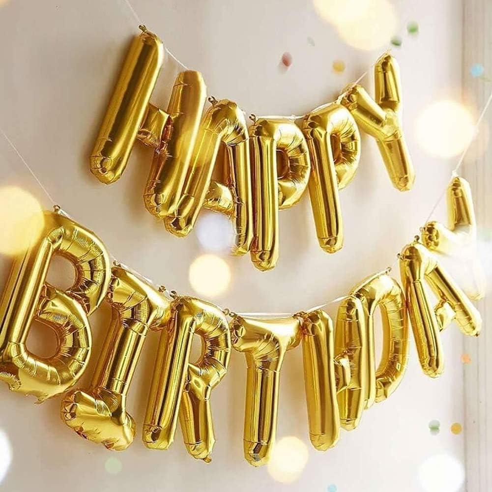 Silver Happy Birthday Banner Balloons Aphabet Happy Birthday Balloons Banner or Birthday Party Decoration
