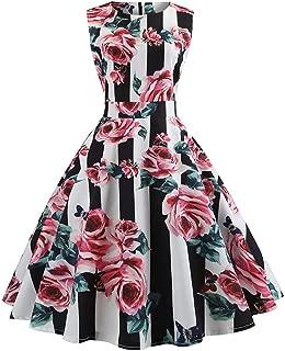 DEATU Womens Dress Ladies Elegance Vintage Sleeveless O Neck Evening Printing Party Prom Swing Dress