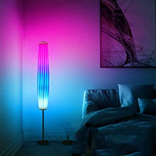 YISUN Lampadaire colonne moderne, télécommande, abat-jour blanc, couleur changeante RVB, lampadaire pour salon et chambre ...
