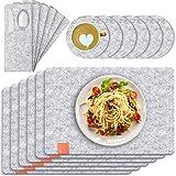 TENSUN Filz Tischset, Abwaschbares Tischset mit Untersetzer und Besteckbeutel, Anthrazit Hitzebeständig Platzdeckchen Tischset (Grau, 18 Stück)