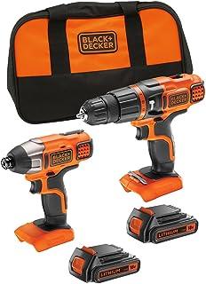 BLACK+DECKER 百得18 V 锂离子锤钻和 18 V 冲击钻,带储物袋和 2 块电池,BDCHIM18B-GB