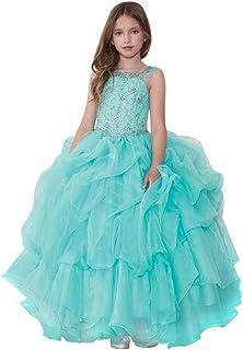 e0b5178ebee Calla Collection Big Girls Aqua Glitter Ruffled Gorgeous Pageant Dress 7-16