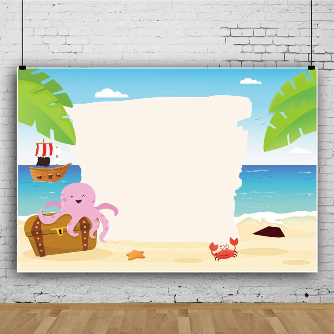 Haoyiyi 5x3ft Tropical Beach Background Green Palm Leaves Island Sand Nautical Pirate Jewelry Backdrop Photography Photo Birthday Party Events Travel Summer Holiday Banner Decoration